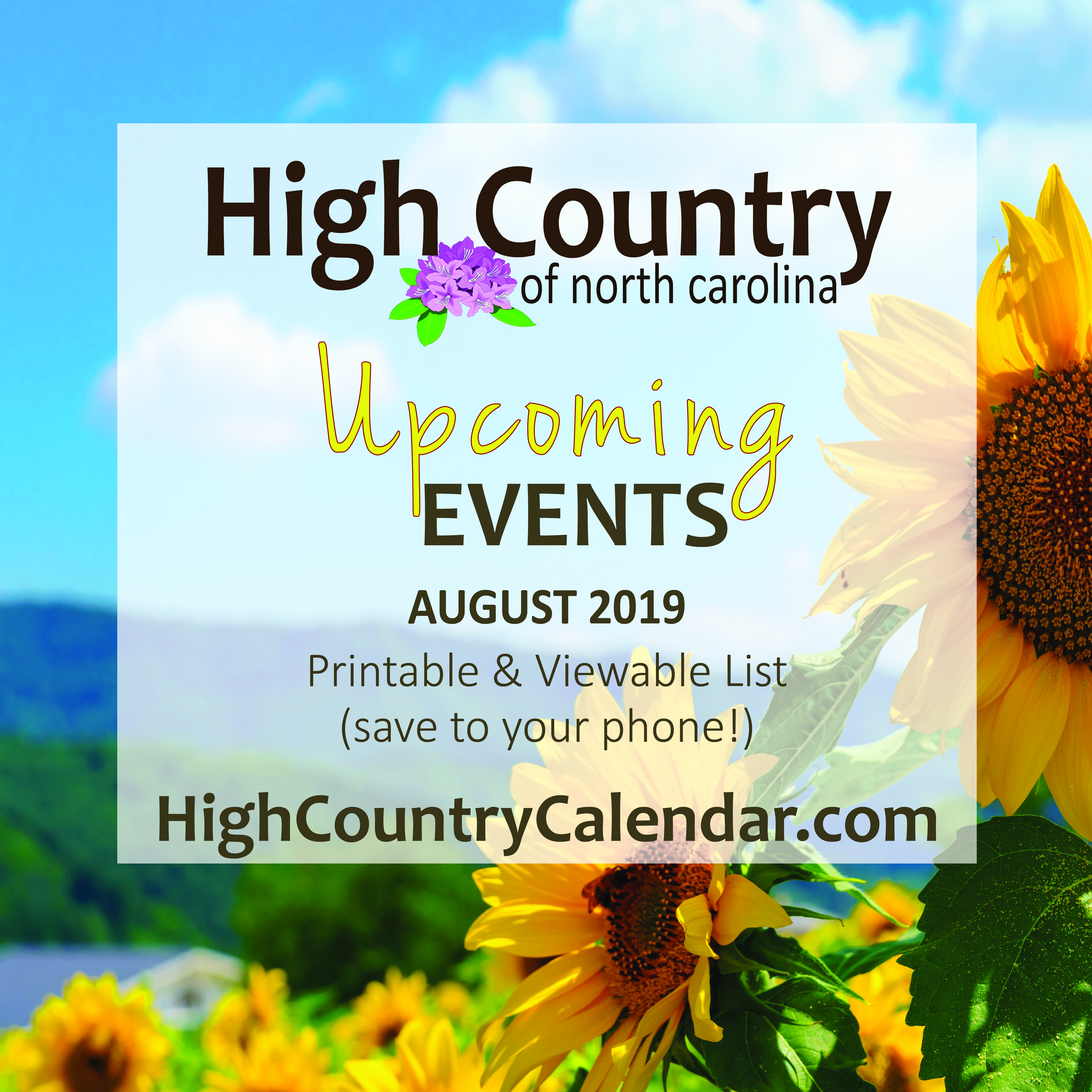 High Country Events Calendar August 2019