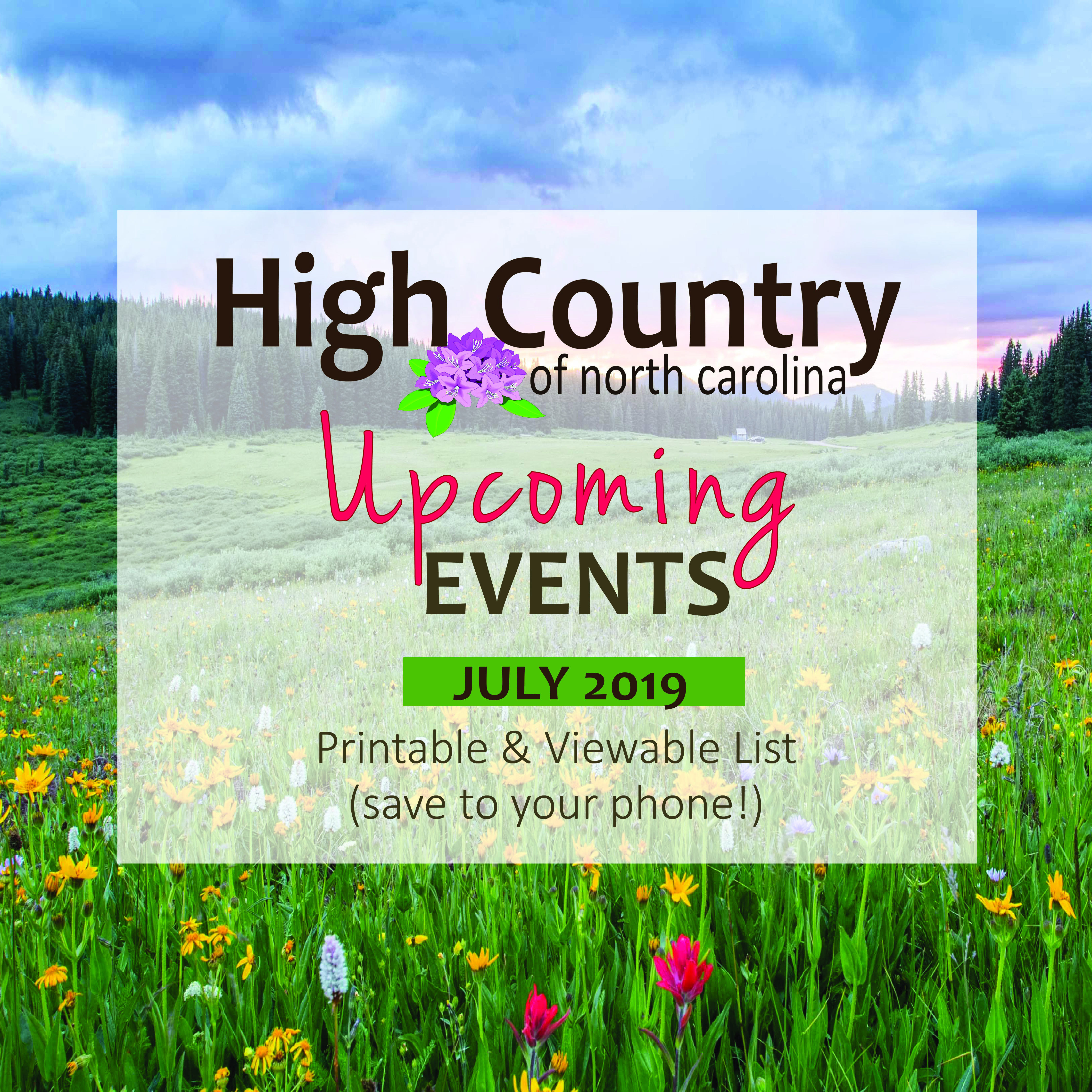 High Country Events Calendar July 2019