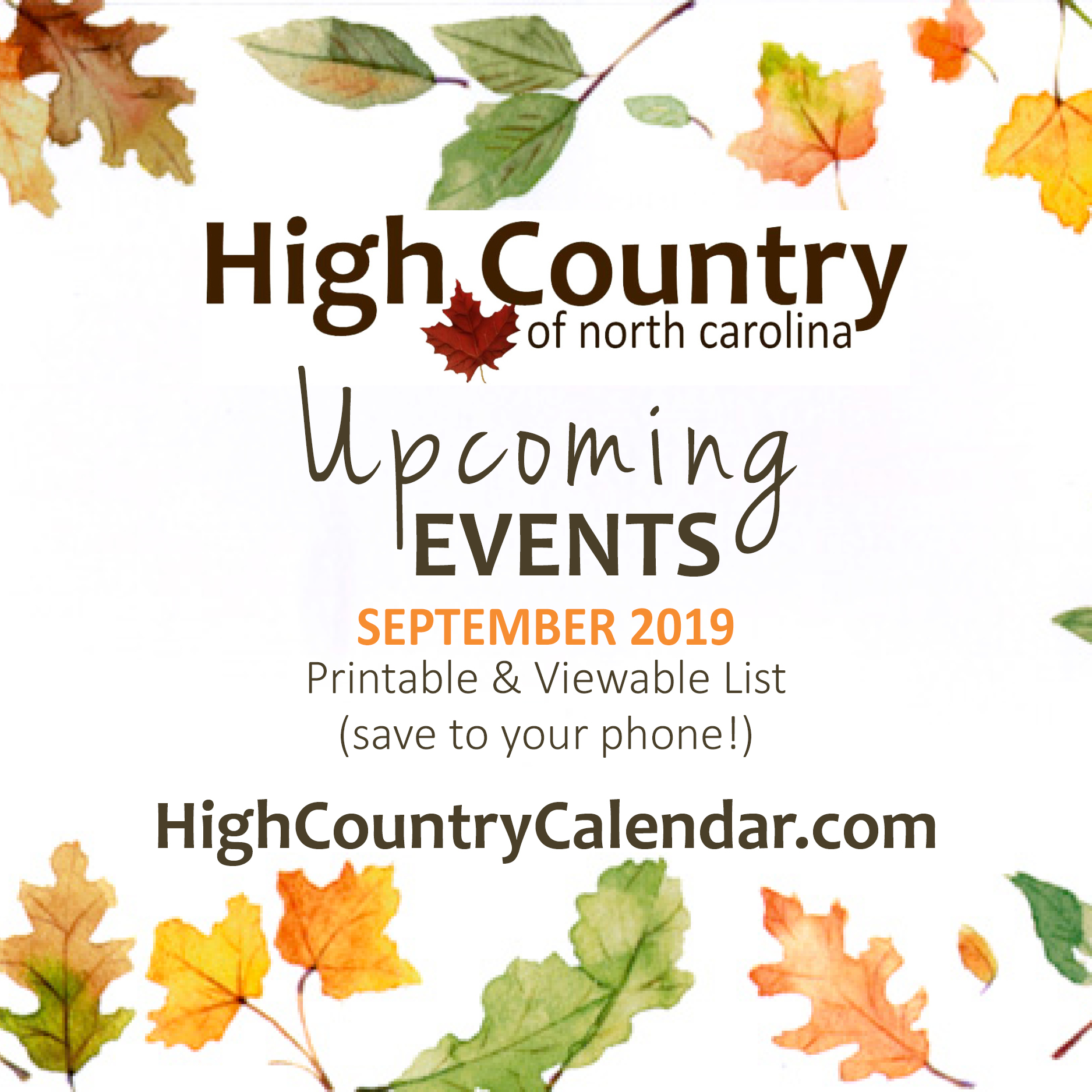 High Country NC Sept 2019 Upcoming Events