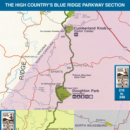 Blue Ridge Parkway NC Map